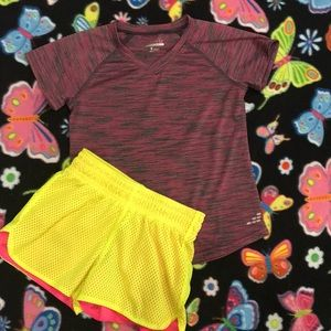 Girls Athletic Top and Shorts
